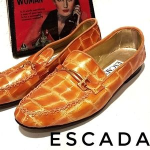 ESCADA Orange Croc Leather Loafers